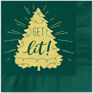 Other - 25 Green & Gold foil Funny Christmas tree napkins